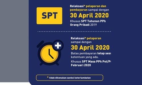Diperpanjang, Batas Akhir Lapor SPT Tahunan WP OP Jadi 30 April 2020
