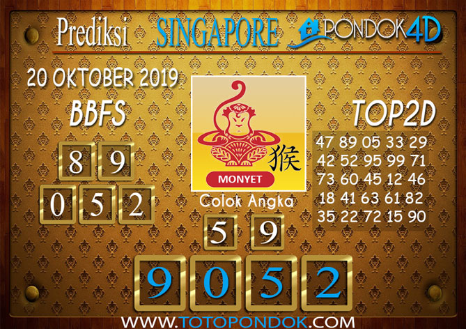 Prediksi Togel SINGAPORE PONDOK4D 20 OKTOBER 2019