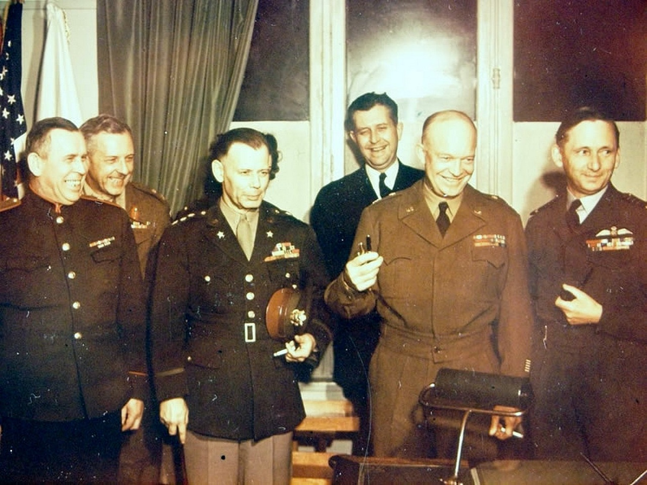 Representatives of the Allied Command after the signing of the surrender of Germany to Reims on May 7, 1945.