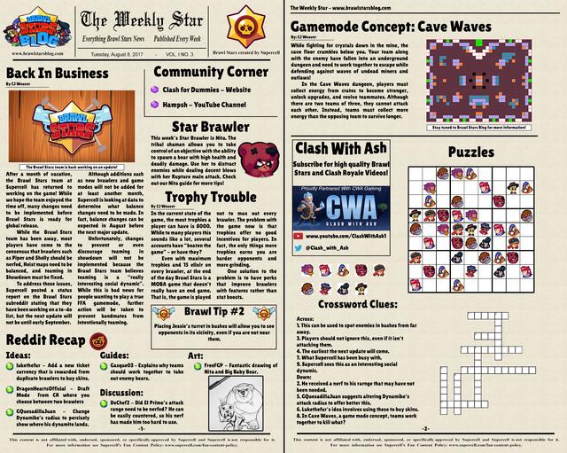 The Weekly Star 3 Brawl Stars Newspaper 8 8 17