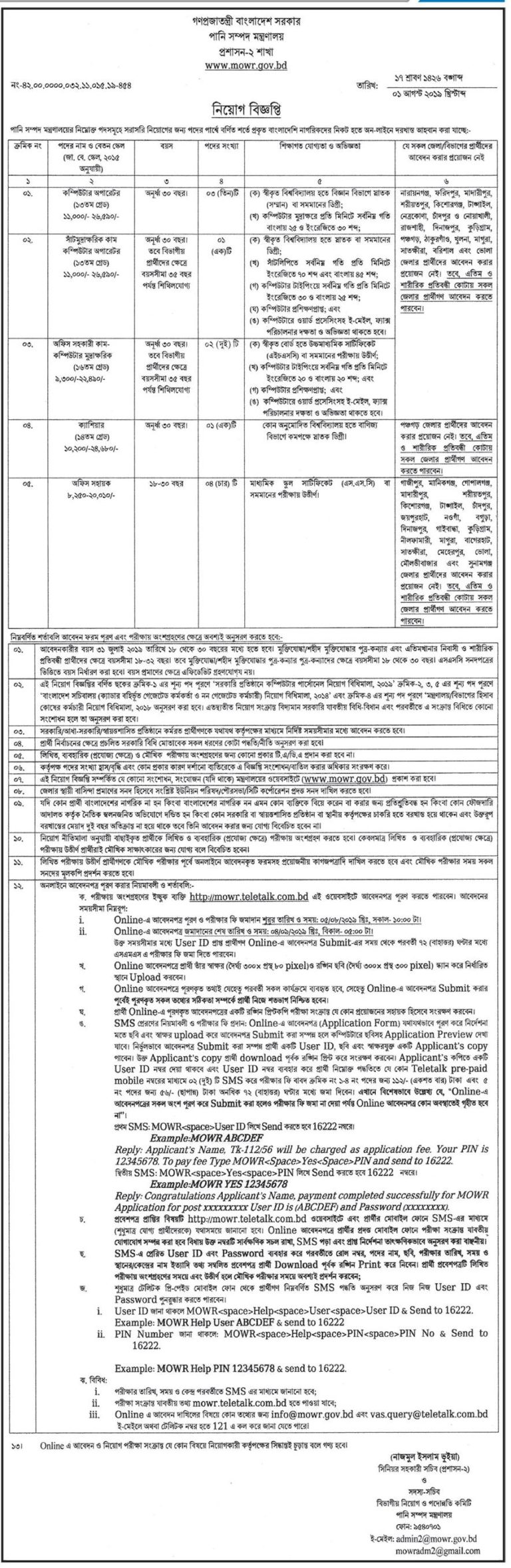 Ministry-of-Water-Resources-job-circular-2019