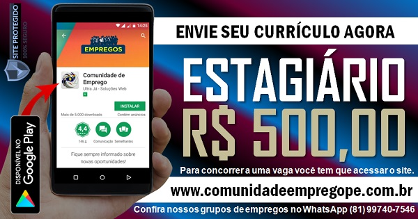 ESTAGIÁRIO COM BOLSA DE R$ 500,00 PARA EMPRESA DE MEDICAMENTOS VETERINÁRIOS