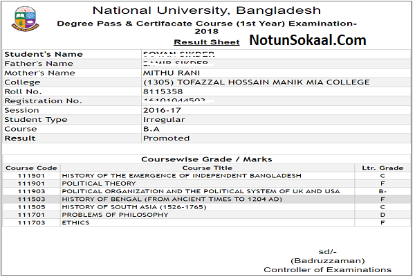 honours-2nd-year-result-marksheet
