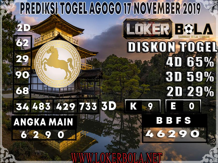 PREDIKSI TOGEL AGOGO LOKERBOLA 17 NOVEMBER 2019