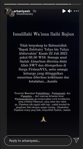 Kabar duka, ayah Arbani Yasiz meninggal dunia