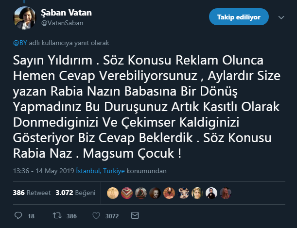 Şaban Vatan tweet