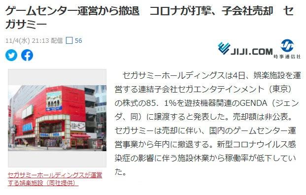 世嘉颯美集團發佈公告,宣佈將集團持有的子公司「世嘉娛樂」85.1%的股份轉讓給GENDA,轉讓實行日期為2020年12月30日。 Image