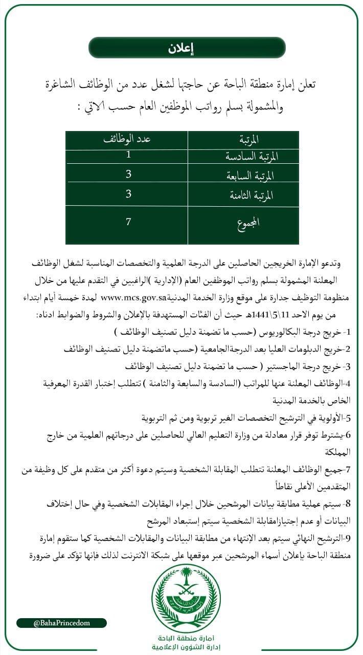 وظائف امارة منطقة الباحة