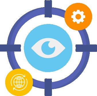 Ilustração representando uma mira na cor azul e ao centro dela um olho. Ao redor dessa mira estão os ícones representando um globo terrestre e uma engrenagem.