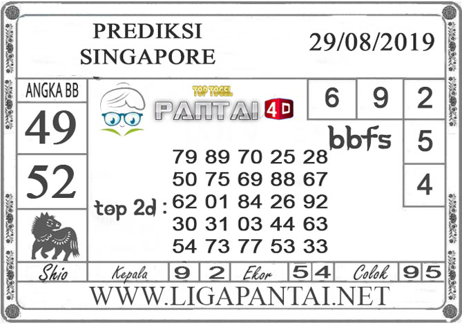 "PREDIKSI TOGEL ""SINGAPORE"" PANTAI4D 29 AGUSTUS 2019"