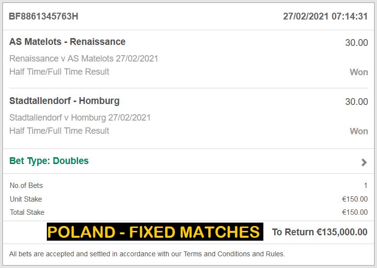 POLAND DOUBLE FIXED MATCHES