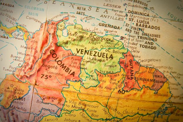 Studying-geography-Photo-of-Venezuela-Columbia-and-Guyana-on-retro-globe