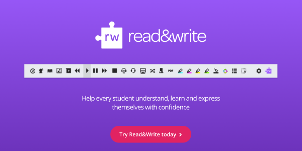 Texthelp Read&Write web page with pink try Read&Write today button