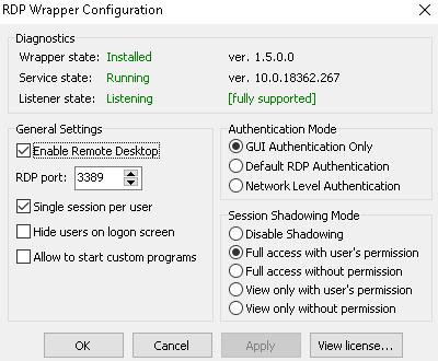 RDP Wrapper-Configuration v.15.0.0 10.0.18362.267 OK