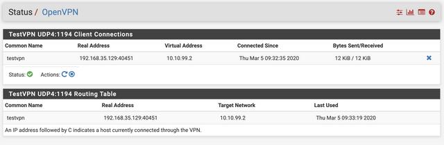 Server VPN Status