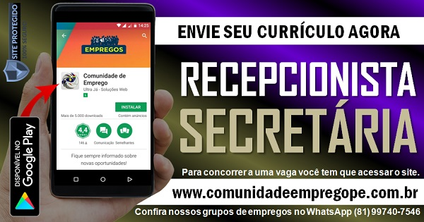 RECEPCIONISTA/ SECRETÁRIA PARA EMPRESA DE SERVIÇOS EM PAULISTA