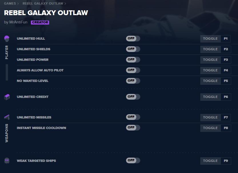Rebel Galaxy Outlaw - Трейнер/Trainer (+9) [v15.08.2019] {MrAntiFun}