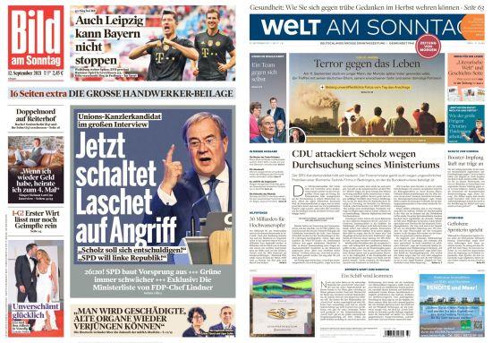 Cover: Bild und Welt am Sonntag No 37 vom 12  September 2021