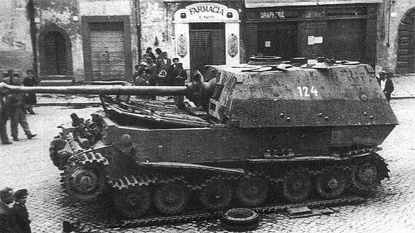 "Destroyed tank ""Ferdinand"" in a city battle"