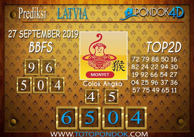 Prediksi Togel LATVIA POOLS PONDOK4D 27 SEPTEMBER 2019
