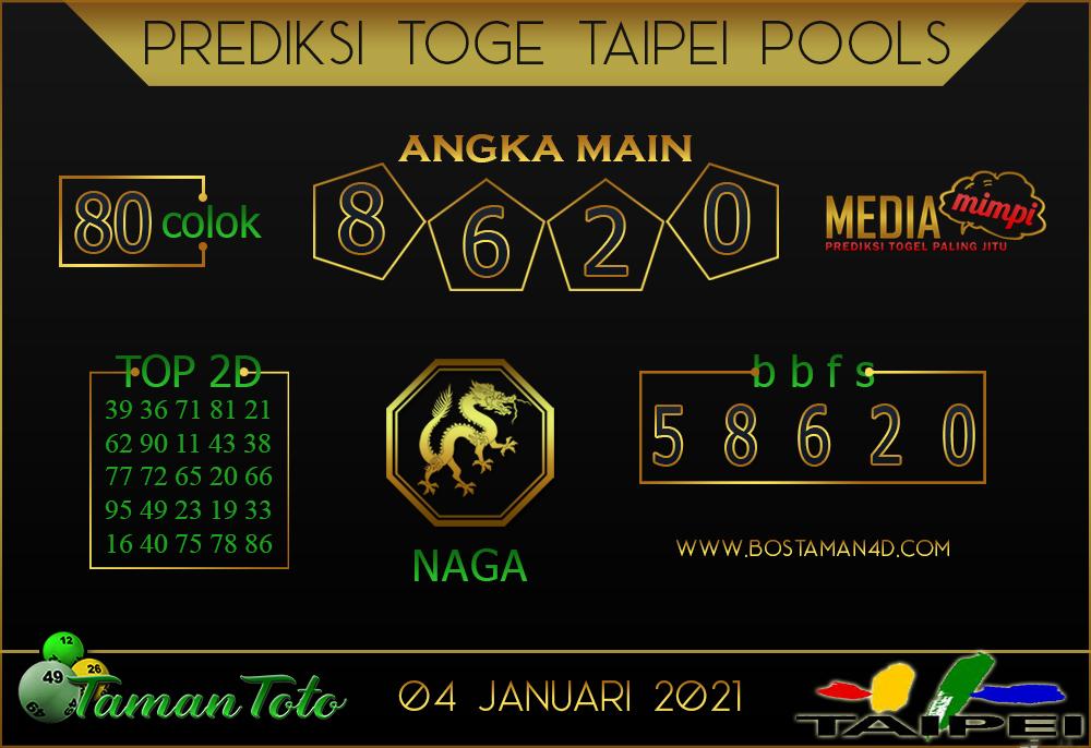 Prediksi Togel TAIPEI TAMAN TOTO 04 JANUARI 2021
