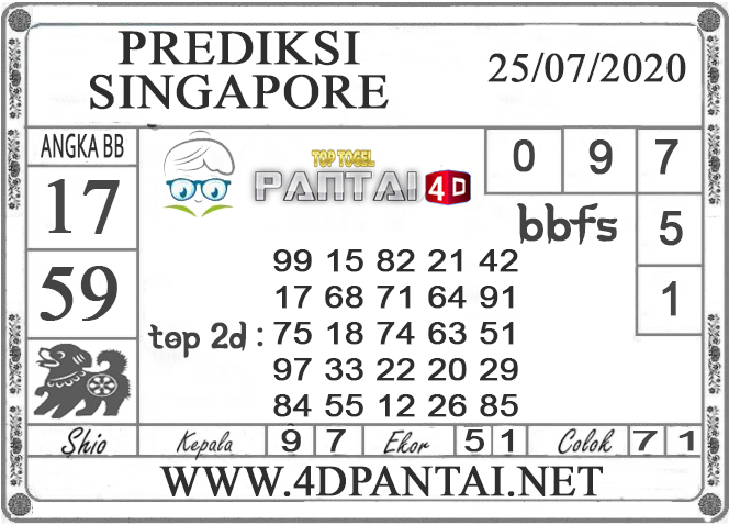 PREDIKSI TOGEL SINGAPORE PANTAI4D 25 JULI 2020
