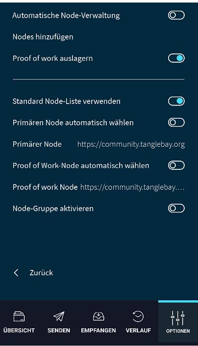Screenshot-Nodeinstellungen