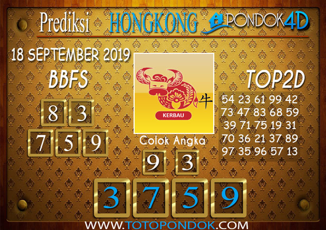 Prediksi Togel HONGKONG PONDOK4D 18 SEPTEMBER 2019