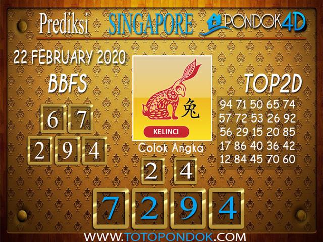 Prediksi Togel SINGAPORE PONDOK4D 22 FEBRUARY 2020