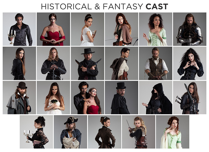 historical and fantasy stock photo bundle cast members