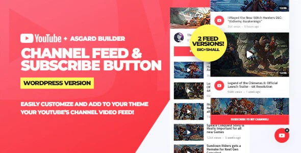 CodeCanyon - Youtube Channel Feeds and Subscribe Box WordPress Plugin v1.0.0 - 25387023