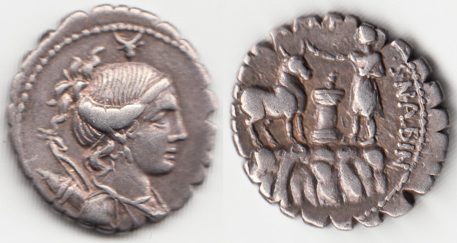 Denario Gens Postumia. A. POST. A. F - S. N. ALBIN. Sacrificador  en montaña, toro y ara. Roma. Gens-Postumia-OK