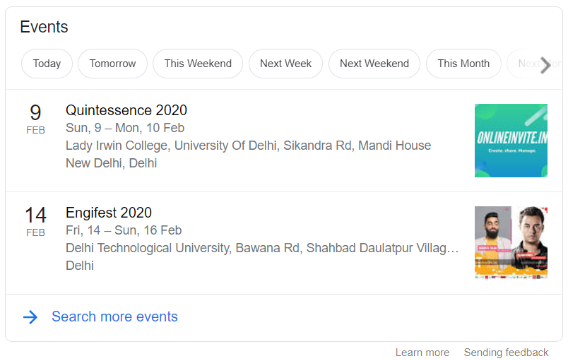 OnlineInvite events on Google