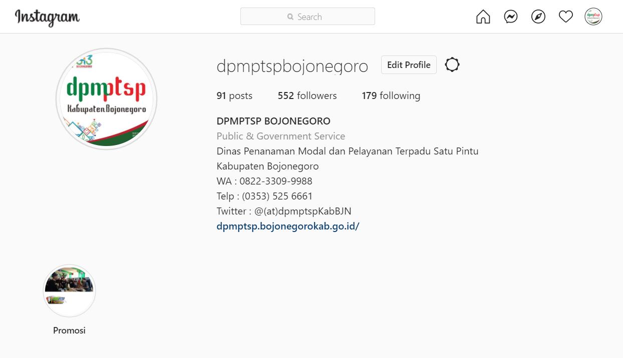 Klik untuk buka Profil Instagram DPMPTSP Kab. Bojonegoro