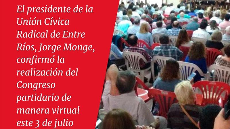 LA UCR Entre Ríos realizará un congreso de manera virtual el próximo 3 de Julio