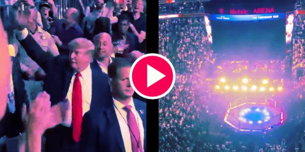 Thousands chant 'USA' as President Trump enters the arena to watch UFC 264…