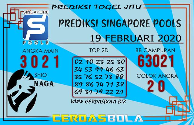Prediksi Togel SINGAPORE CERDASBOLA 19 FEBRUARI 2020