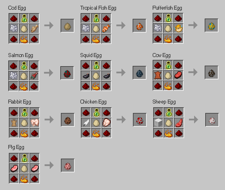 spawn eggs recipes