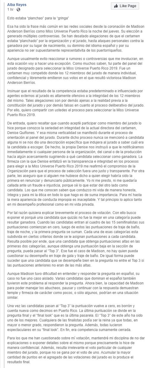comentarios de alba reyes, top 3 de miss universe 2004, sobre final de miss universe puerto rico 2019. AR-1