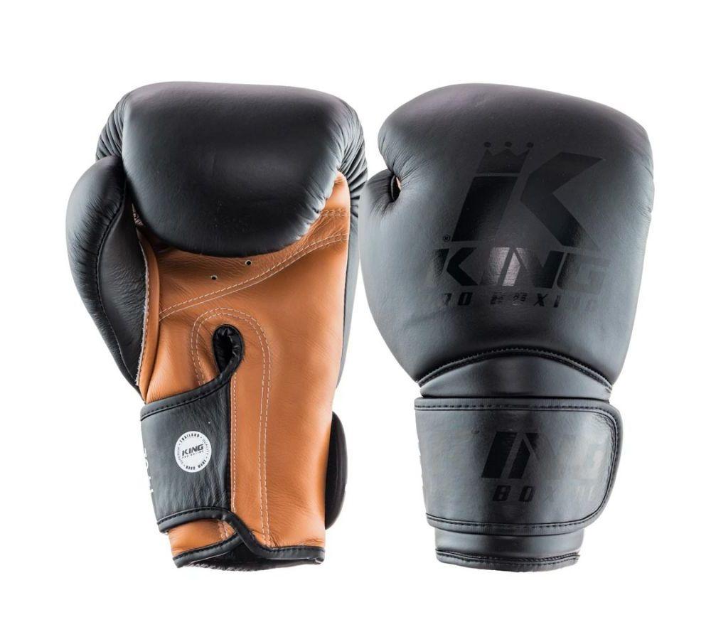 Боксерские перчатки King Pro Boxing черный / коричневый Таиланд