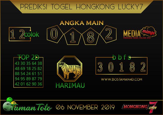Prediksi Togel HONGKONG LUCKY 7 TAMAN TOTO 06 NOVEMBER 2019