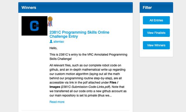 2381C Wins Prog Skills Challenge