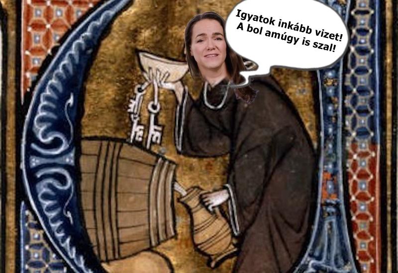 Szent Novák Katalin bolt iszik és vizet plédikál