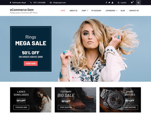 eCommerce Gem - Best Free eCommerce WordPress Theme