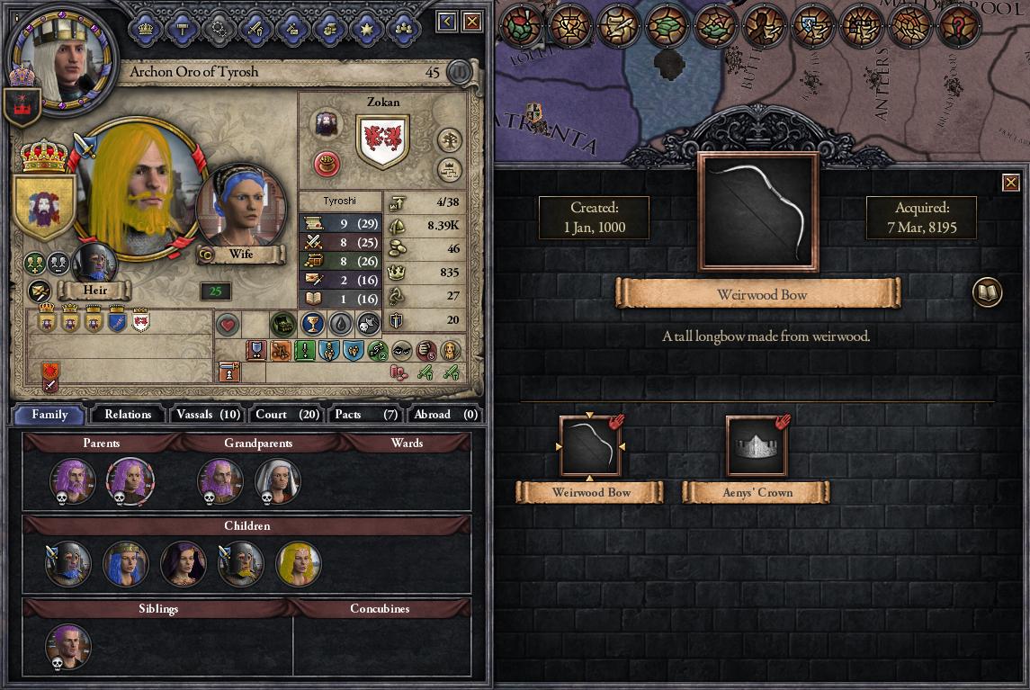 Archon Oro of Tyrosh has Aenys I's Crown.
