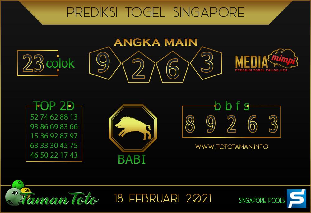 Prediksi Togel SINGAPORE TAMAN TOTO 18 FEBRUARI 2021