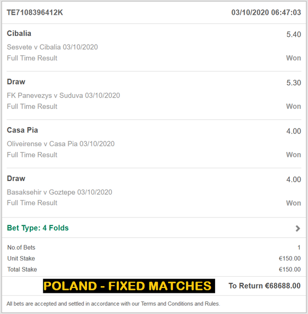 POLAND - REAL AND SURE FIXED MATCHES