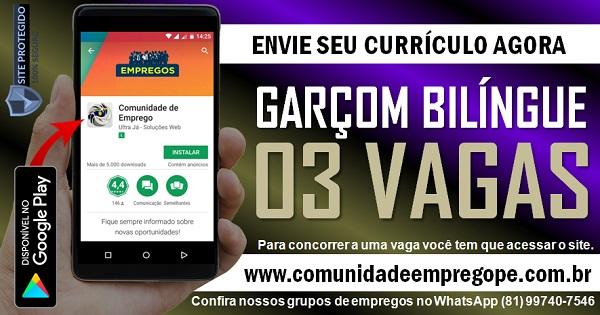 GARÇOM BILÍNGUE, 03 VAGAS COM SALÁRIO DE R$ 2000,00 EM FERNANDO DE NORONHA
