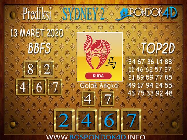 Prediksi Togel SYDNEY 2 PONDOK4D 13 MARET 2020