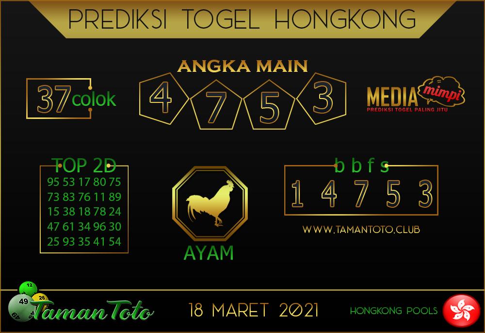 Prediksi Togel HONGKONG TAMAN TOTO 18 MARET 2021